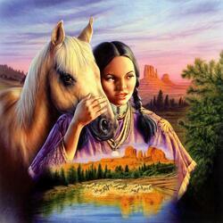 Пазл онлайн: Лошадь и дева