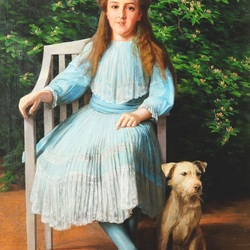 Пазл онлайн: Девочка с собакой