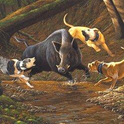 Пазл онлайн: Охота на кабана