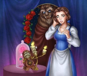Красавица и чудовище - собрать пазл онлайн.