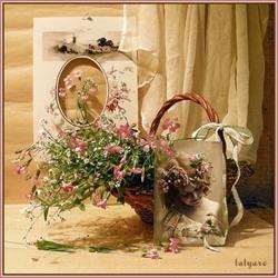 Пазл онлайн: Девочка с корзинкой с цветами