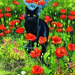 Пазл онлайн: Черный кот в маках