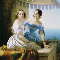 Пазл онлайн: Портрет великих княжон Марии Николаевны и Ольги Николаевны