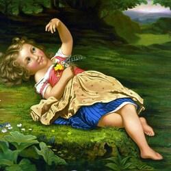 Пазл онлайн: Девочка с божьей коровкой