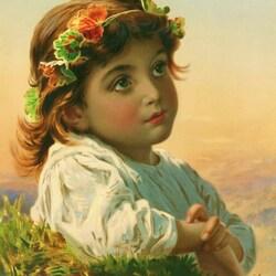 Пазл онлайн: Портрет девочки в венке