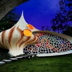 Пазл онлайн: Наутилиус -необычный дом в биоорганическом стиле