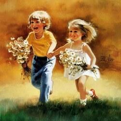 Пазл онлайн: Счастливое детство
