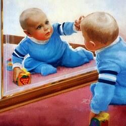 Пазл онлайн: Малыш у зеркала