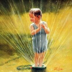 Пазл онлайн: Мальчик и фонтанчик
