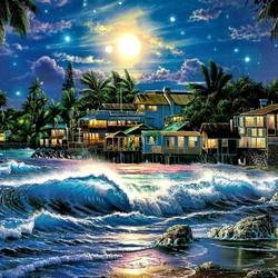Пазл онлайн: Дома на побережье