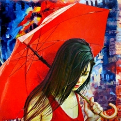 Пазл онлайн: Красный зонтик