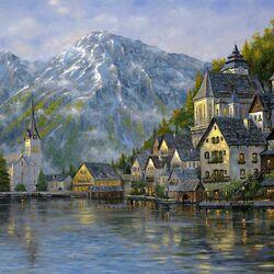 Пазл онлайн: Красивый горный пейзаж