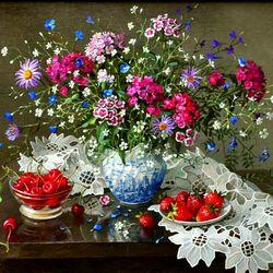 Пазл онлайн: Натюрморт цветы и ягоды