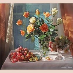 Пазл онлайн: Натюрморт с розами и виноградом на утреннем столе