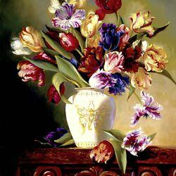 Пазл онлайн: Попугайные тюльпаны