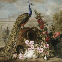 Пазл онлайн: Натюрморт с павлином, кроликами и индюком