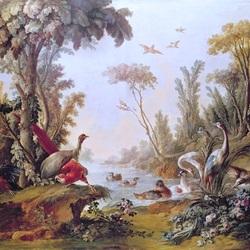 Пазл онлайн: Озеро с птицами