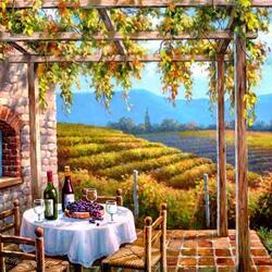 Пазл онлайн: Вид с террасы на виноградники