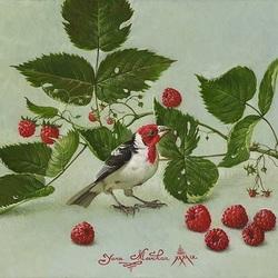 Пазл онлайн: Малина и птица