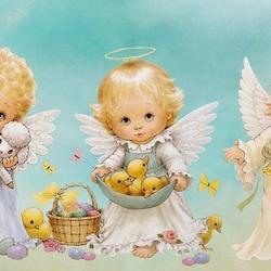 Пазл онлайн: Пасхальные Ангелочки