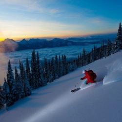 Пазл онлайн: Катание на лыжах на закате