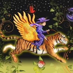 Пазл онлайн: Летающий тигр