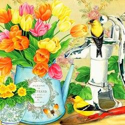 Пазл онлайн: Весенние тюльпаны
