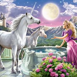 Пазл онлайн: Принцесса и единороги