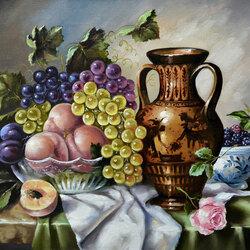 Пазл онлайн: Натюрморт с розой и виноградом