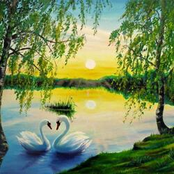 Пазл онлайн: Пара белых лебедей