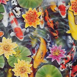 Пазл онлайн: Рыбки в пруду