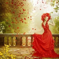 Пазл онлайн: Девушка в красном