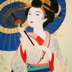 Пазл онлайн: Японка с зонтиком