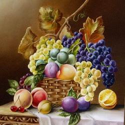 Пазл онлайн: Натюрморт с виноградом и фруктами