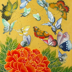 Пазл онлайн: Цветок и бабочки