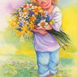 Пазл онлайн: Девочка с цветами