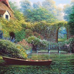 Пазл онлайн: Сад у пруда