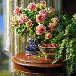 Пазл онлайн: Натюрморт с розами и клубникой