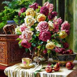 Пазл онлайн: Натюрморт с розами и гранатами