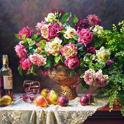 Пазл онлайн: Розы вино и фрукты
