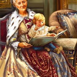 Пазл онлайн: Екатерина II с внуком Александром