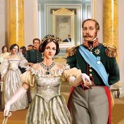 Пазл онлайн: Николай I с женой на балу