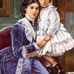 Пазл онлайн: Мария Федоровна с маленьким Николаем II