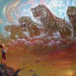 Пазл онлайн: Небесные кошки