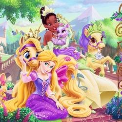 Пазл онлайн: Принцессы и их питомцы