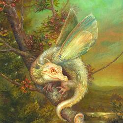 Пазл онлайн: Цветочный дракончик