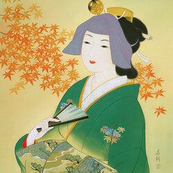 Пазл онлайн: Японка с веером
