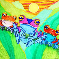 Пазл онлайн: Три маленьких лягушки