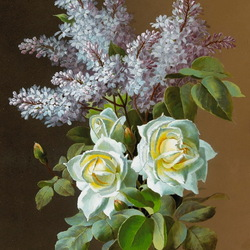 Пазл онлайн: Сирень и розы