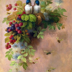 Пазл онлайн: Птицы на веточке ежевики
